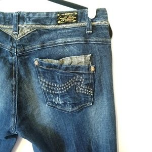 REROCK for Express distressed gold thread jeans